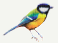 Great tit digital cross stitch