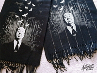 Silkscreened Hitchcock Scarves