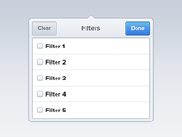 Filters dropdown