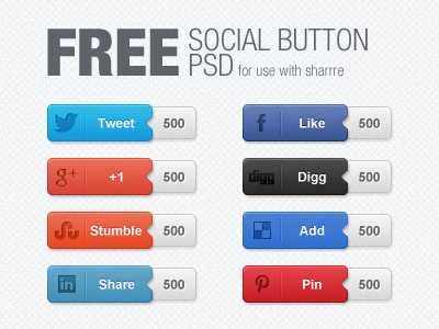 Download Free Social Button PSD
