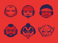 Superhero Icons One Color